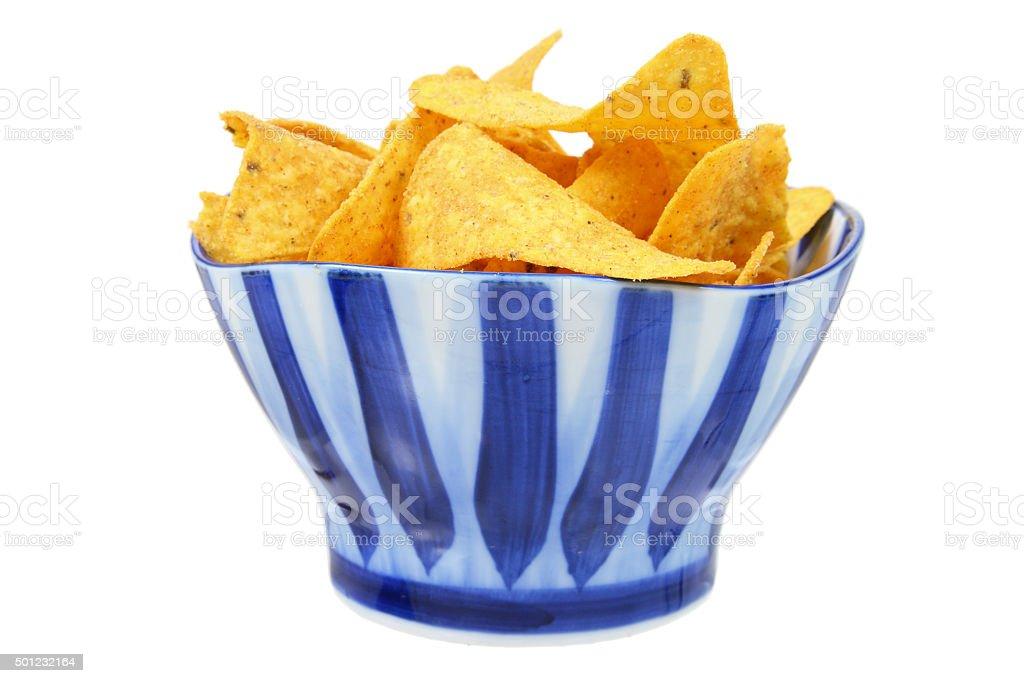 Corn Chips in Bowl stock photo