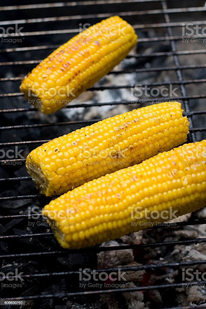Corn cobs roasted on barbecue stock photo