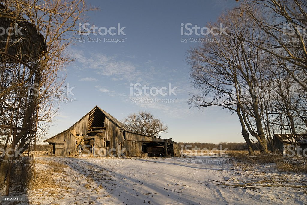 Corn Crib and Barn royalty-free stock photo