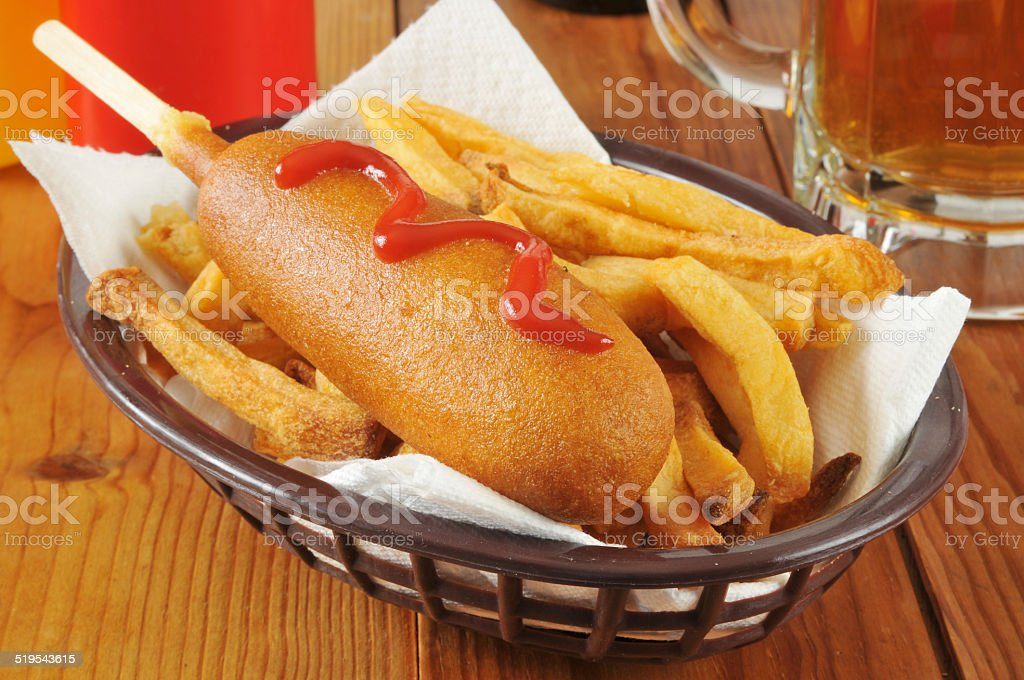 Corn dog and beer stock photo