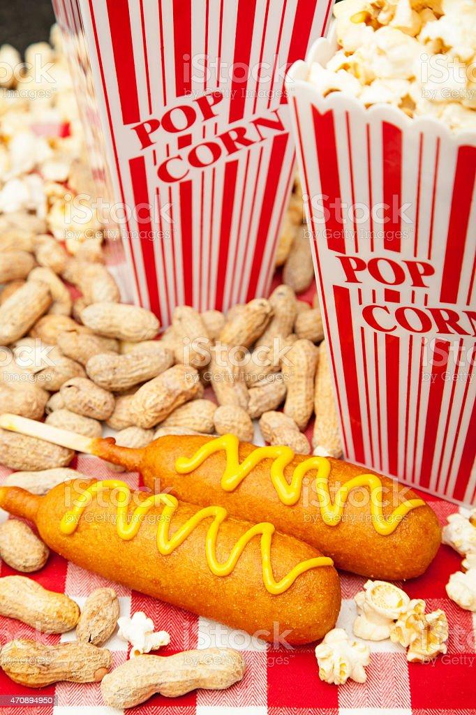 Corn Dogs Popcorn and Peanuts stock photo