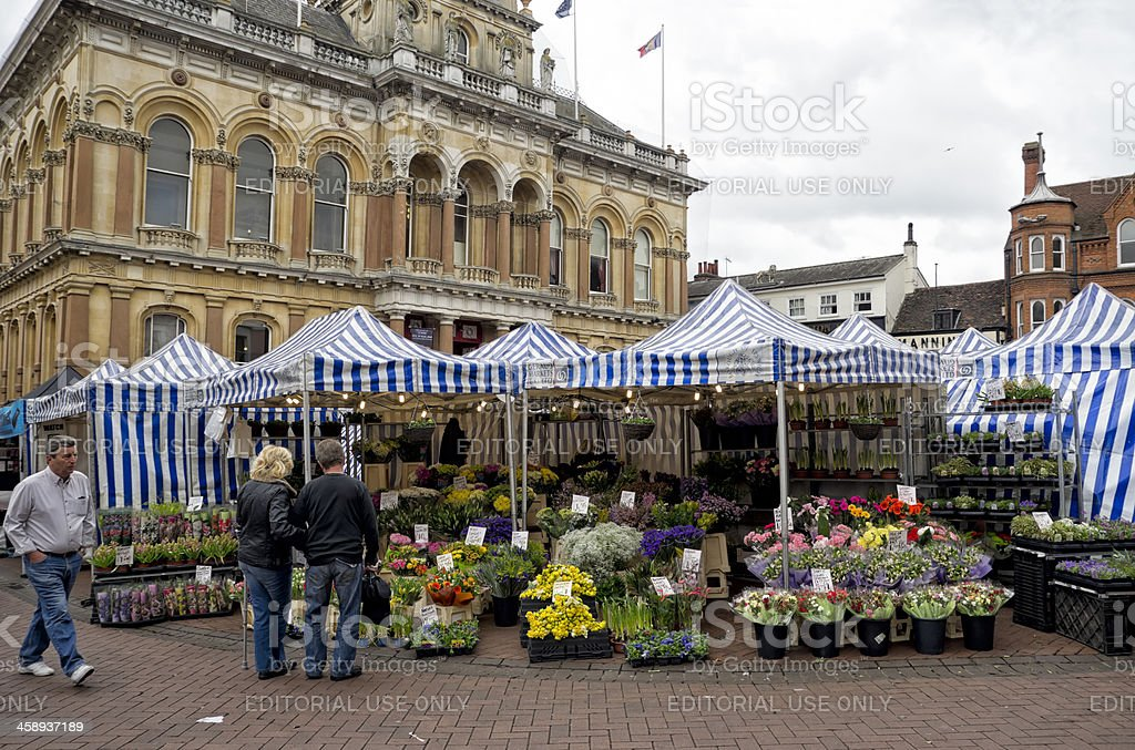 Corn Exchange and flower stall in Ipswich royalty-free stock photo