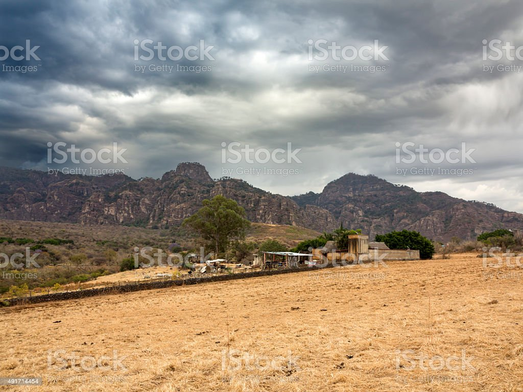 Corn field and farm, Mexico stock photo