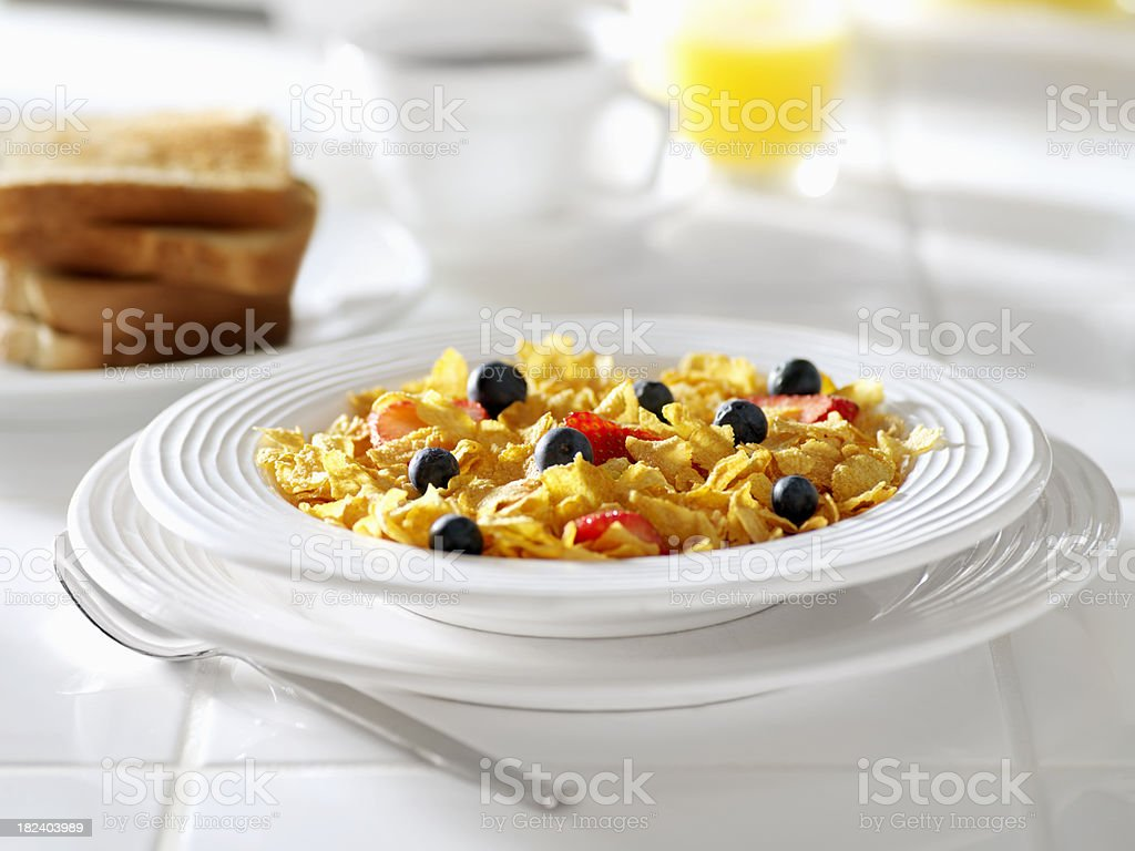 Corn Flake Breakfast Cereal with Fruit royalty-free stock photo