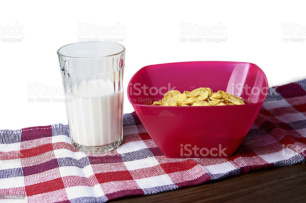 Corn Flakes and a glass of milk royalty-free stock photo