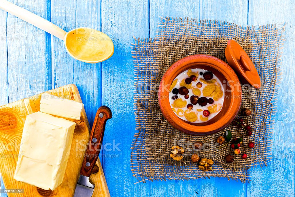Corn flakes and butter stock photo