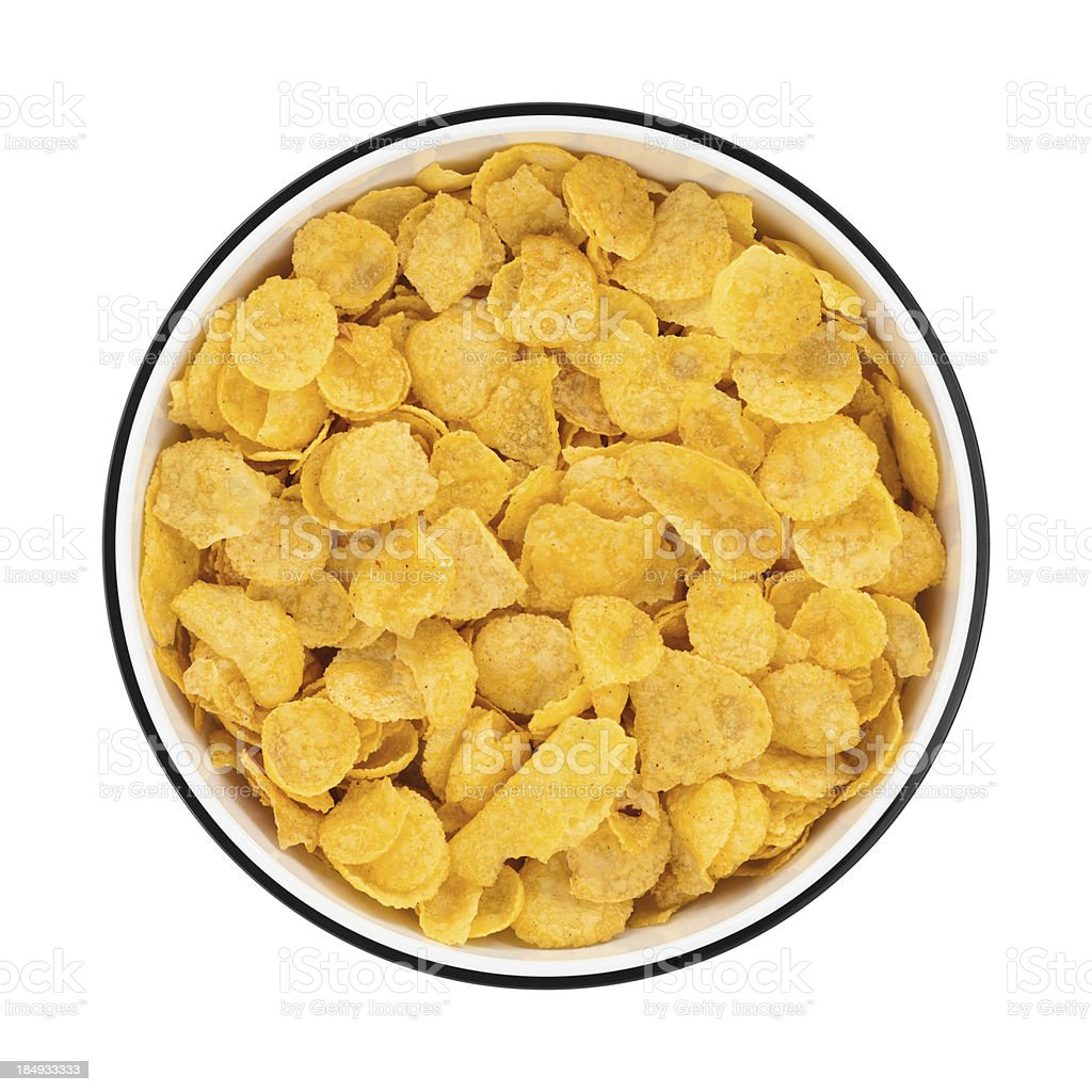 Corn flakes in a bowl from directly above stock photo