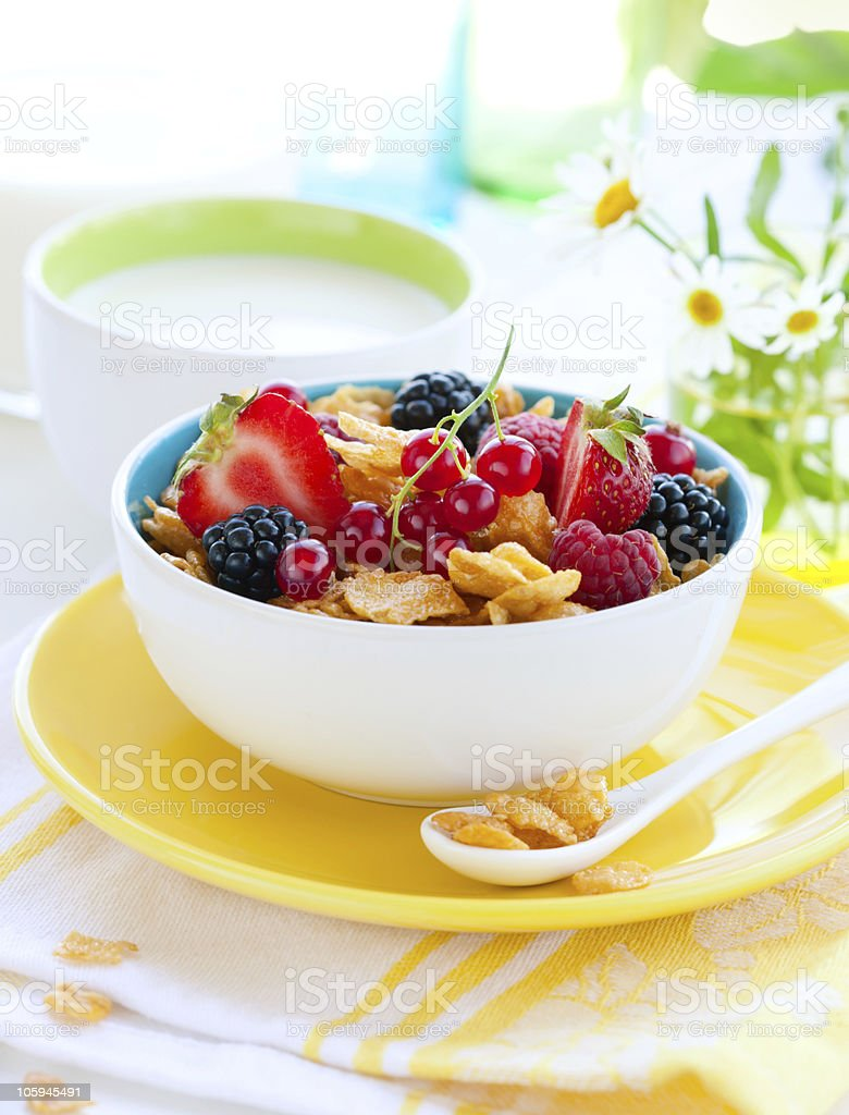 corn flakes with fruits and milk royalty-free stock photo