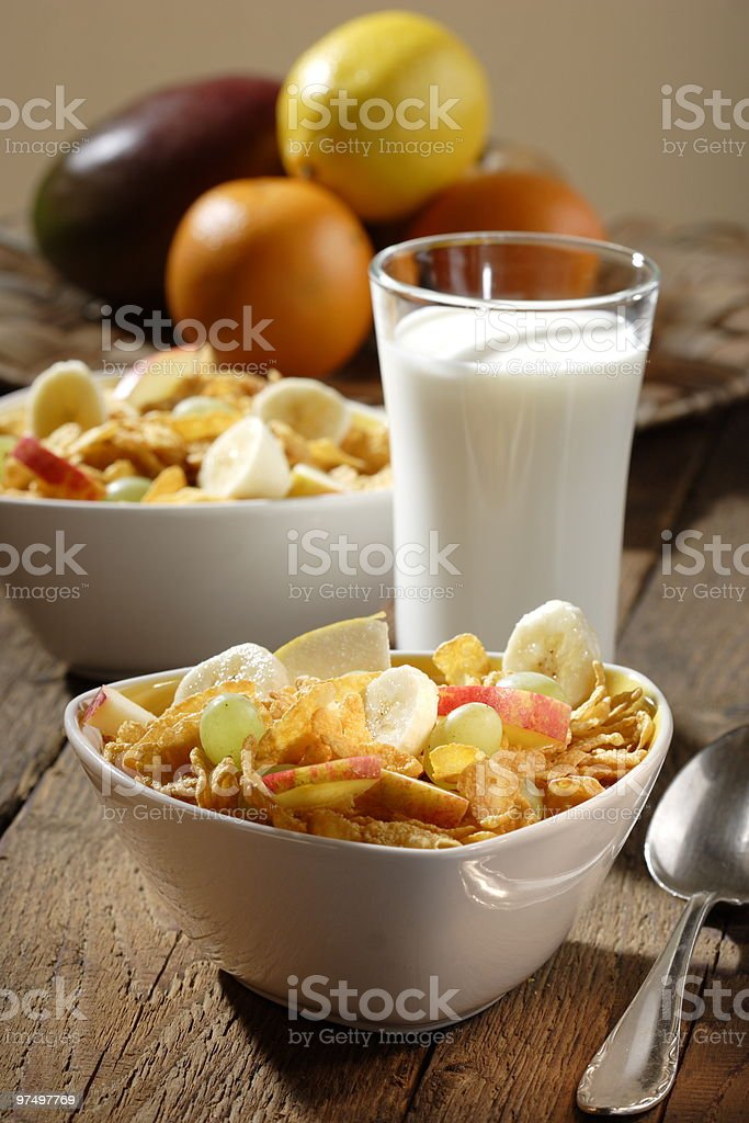 Corn flakes with fruits royalty-free stock photo