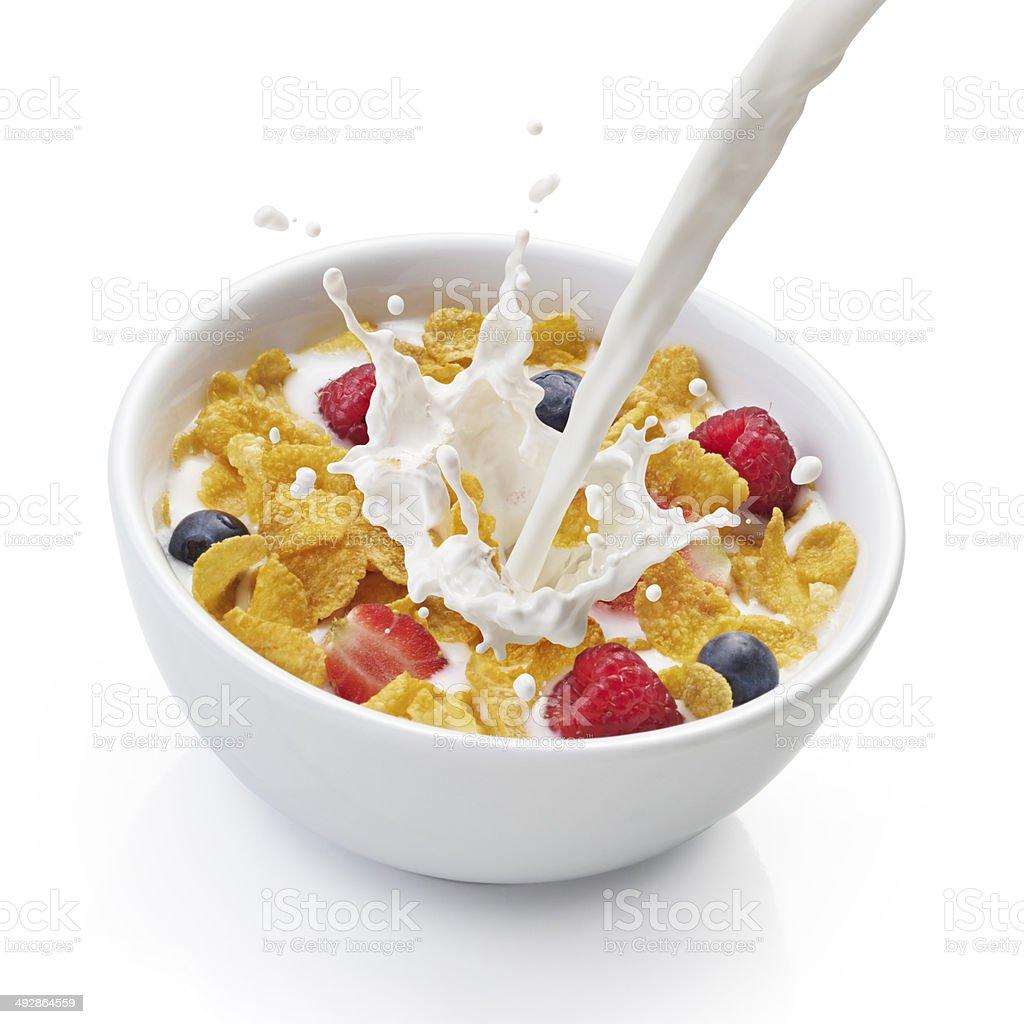 corn flakes with milk stock photo