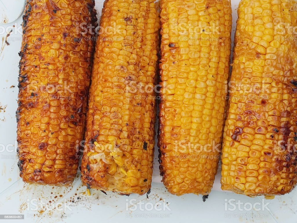 corn grilled stock photo
