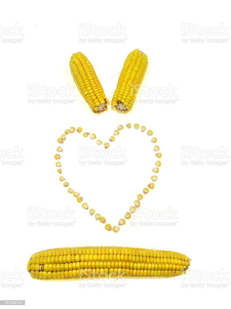Corn heart (Isolated on a white background) royalty-free stock photo