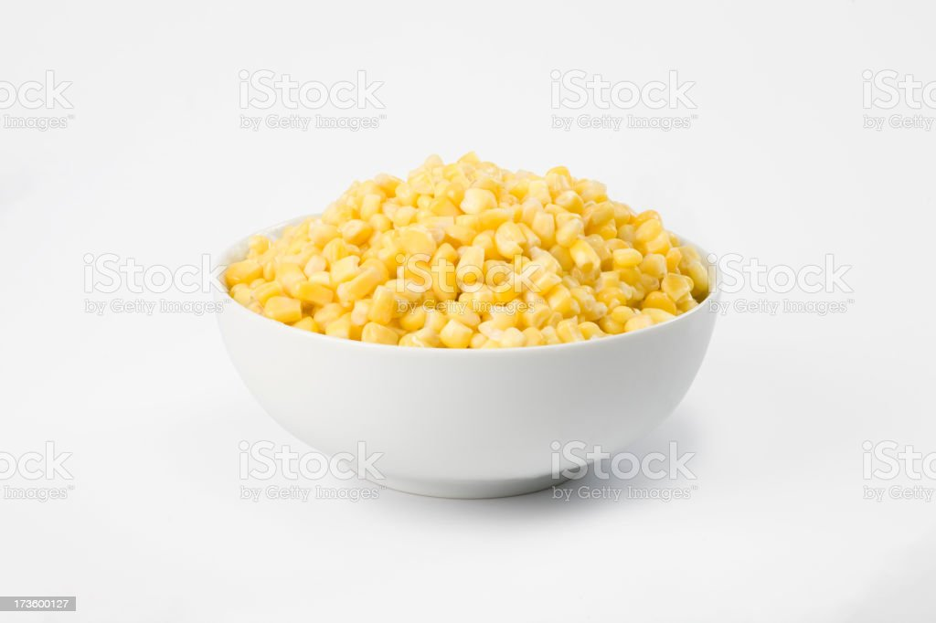 Corn in white bowl stock photo