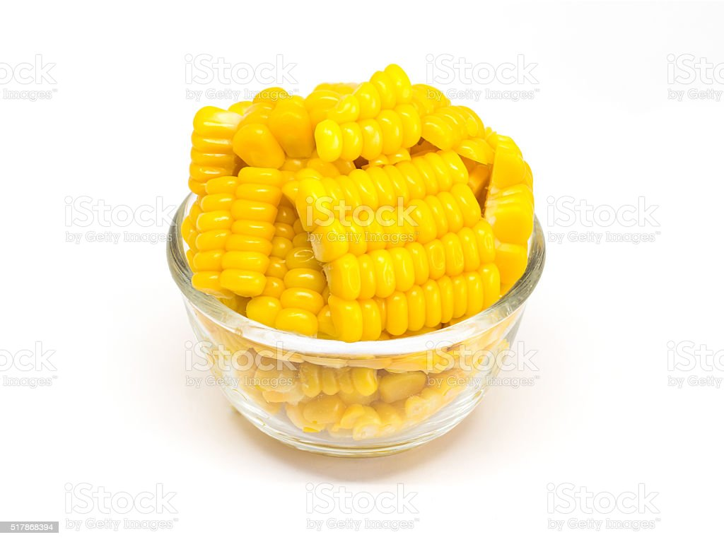 corn isolated in bowl stock photo
