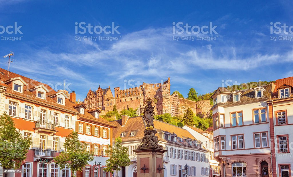 Corn market (Kornmarkt) and Statue of the Virgin, Heidelberg stock photo