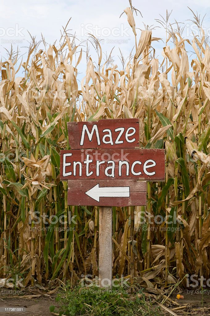 Corn Maze Entrance royalty-free stock photo