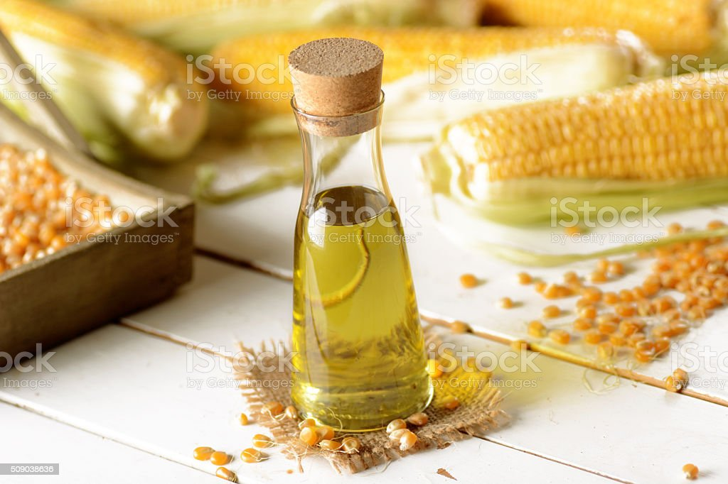 corn oil in the bottle stock photo