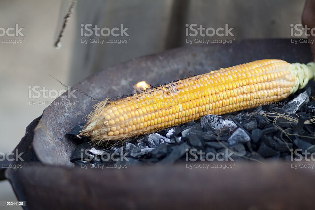 Corn on barbecue stock photo