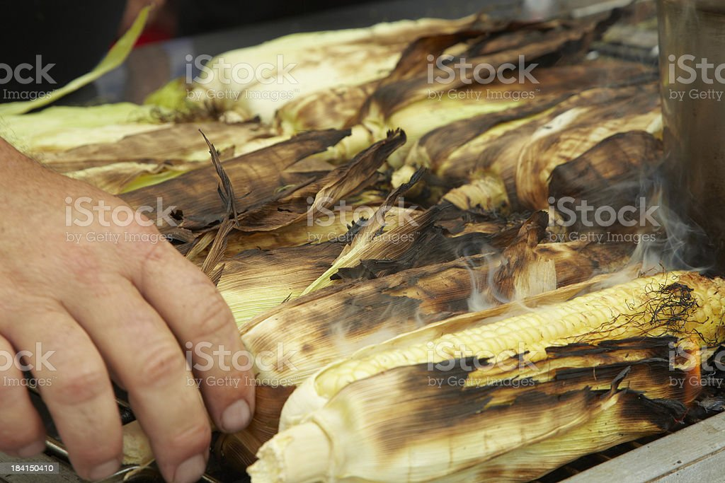 Corn on Barbeque Grill, Vegetable, Cooking, Food royalty-free stock photo