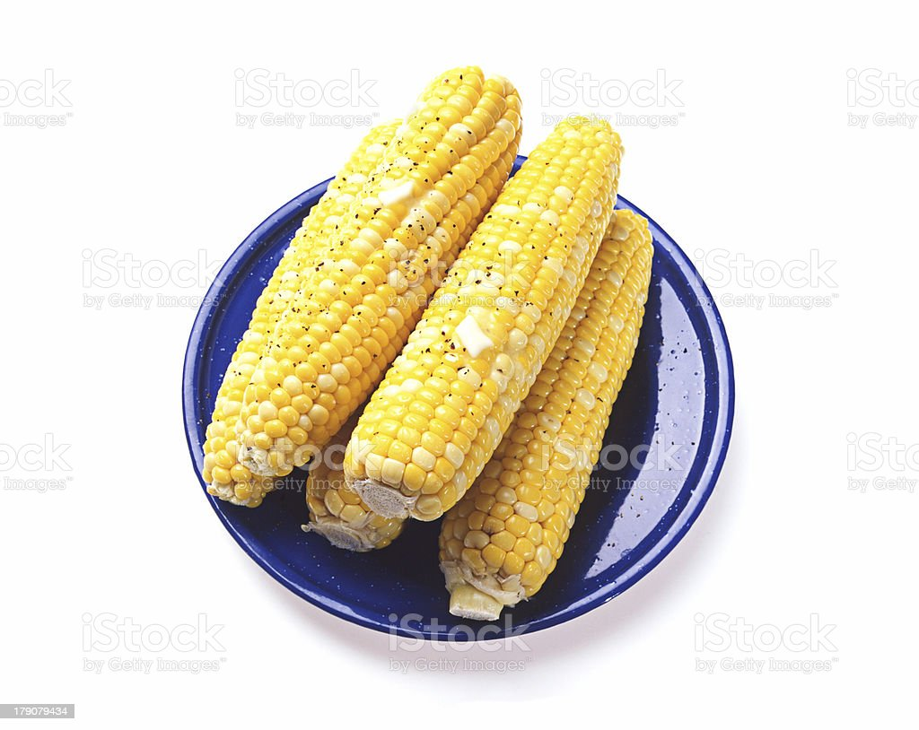 Corn on Blue Plate royalty-free stock photo