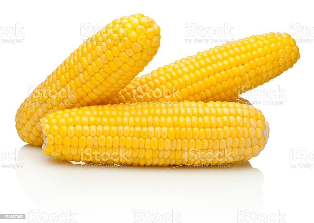Corn on the cob kernels peeled isolated on white background stock photo
