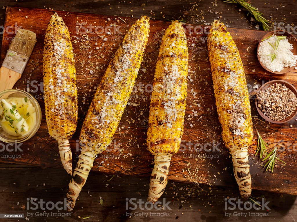 BBQ Corn on the cob stock photo