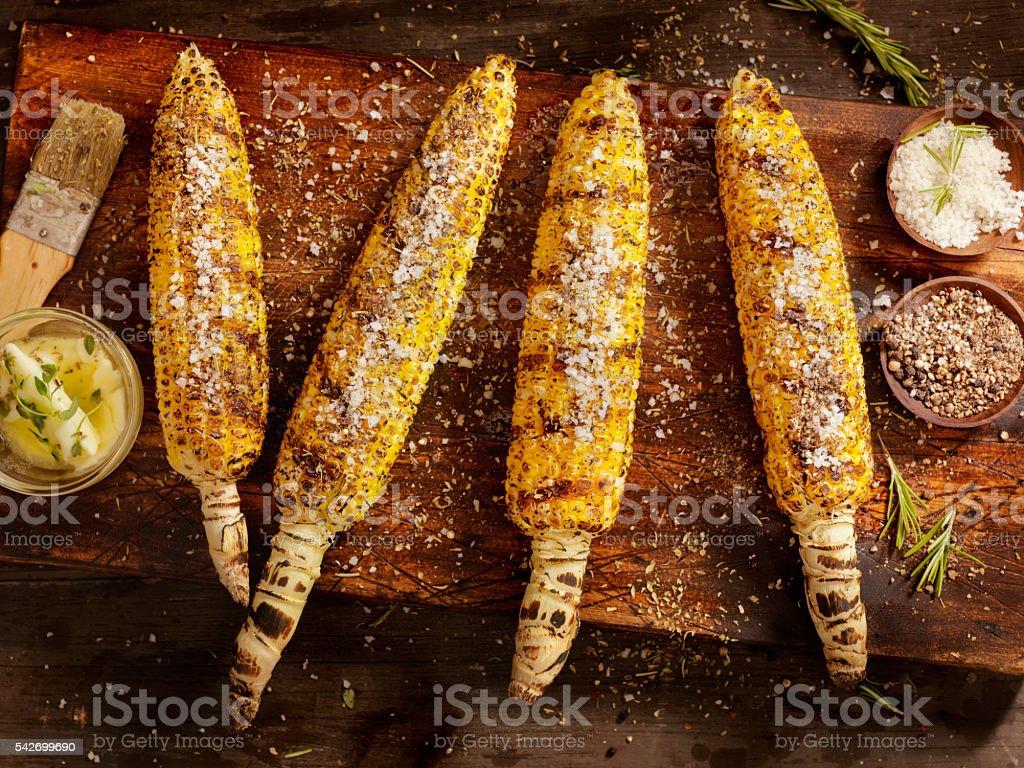 BBQ Corn on the cob stock photo