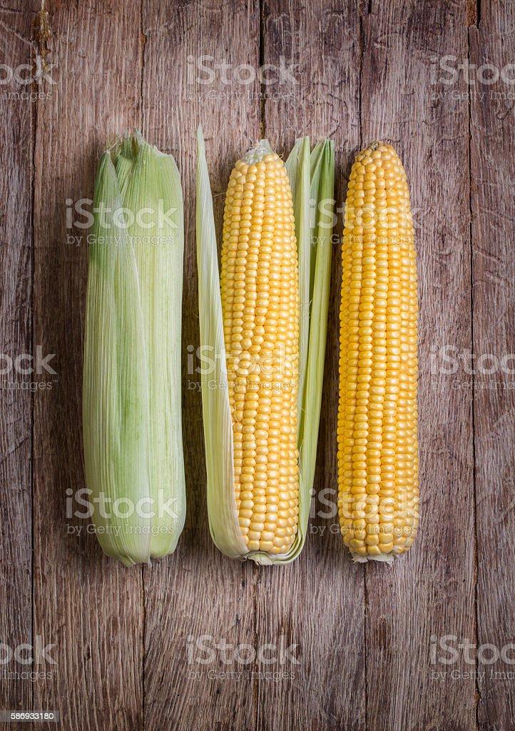 corn on wood table stock photo