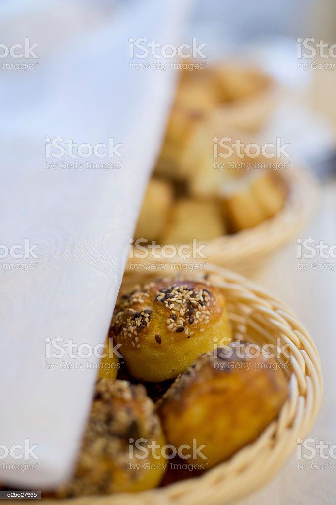 Corn pone in basket for bread. stock photo