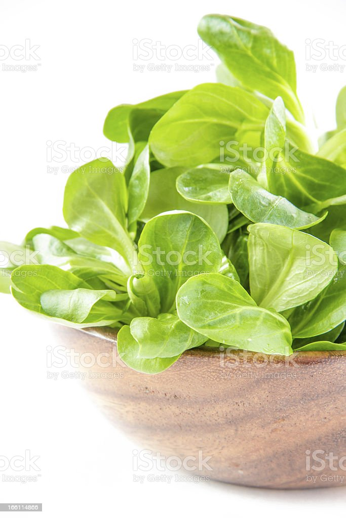Corn salad in wooden bowl royalty-free stock photo