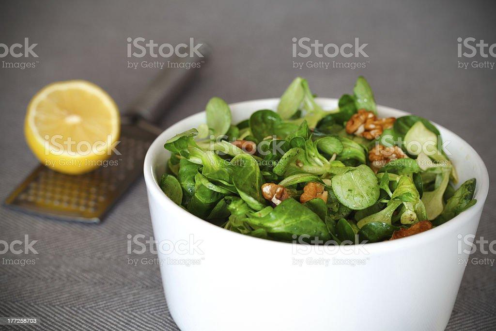 Corn salad with walnuts and lemon vinaigrette stock photo