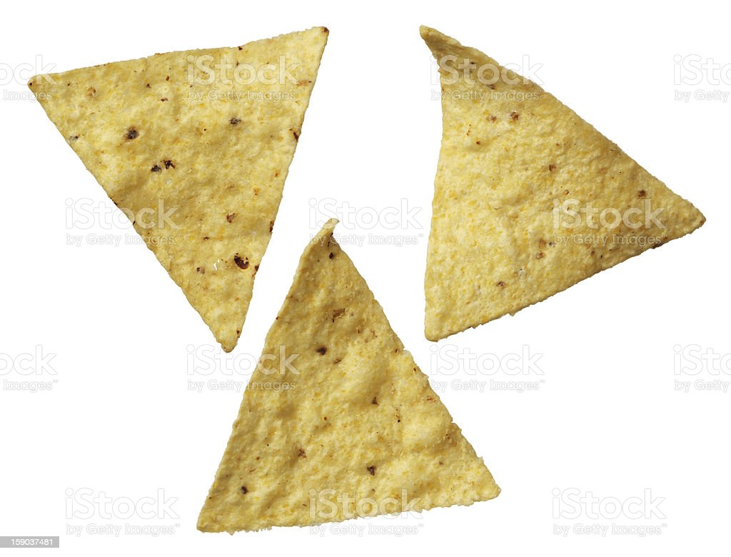 Corn tortilla chips isolated on white background stock photo