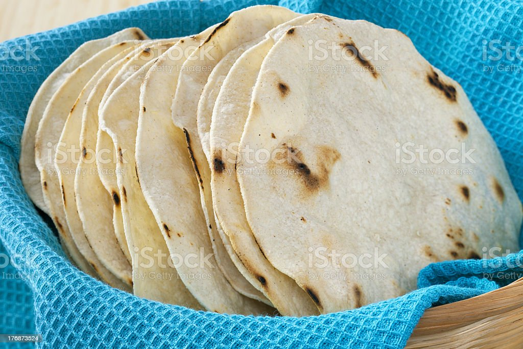 Corn Tortillas, Stacked in a Basket stock photo