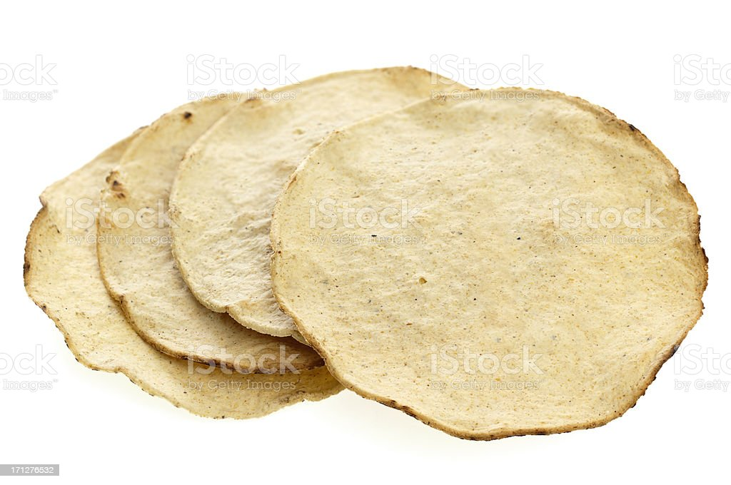 Corn tostada on white background stock photo