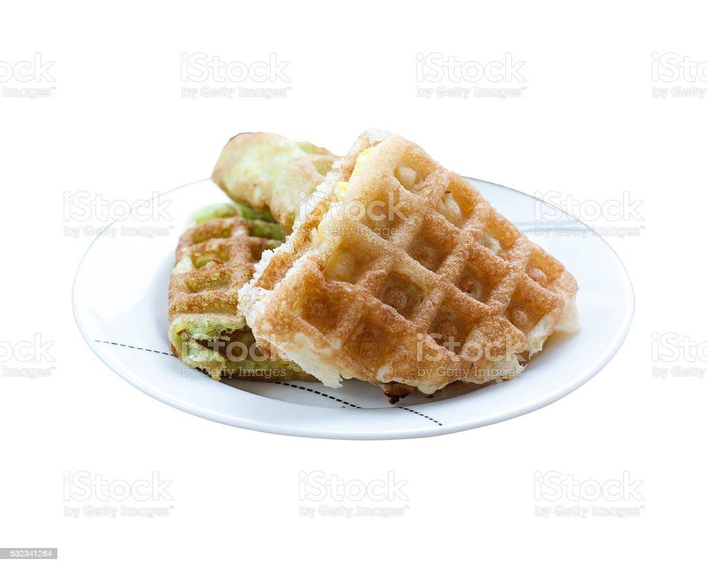 Corn vanilla and pandan  thai waffle on white dish stock photo