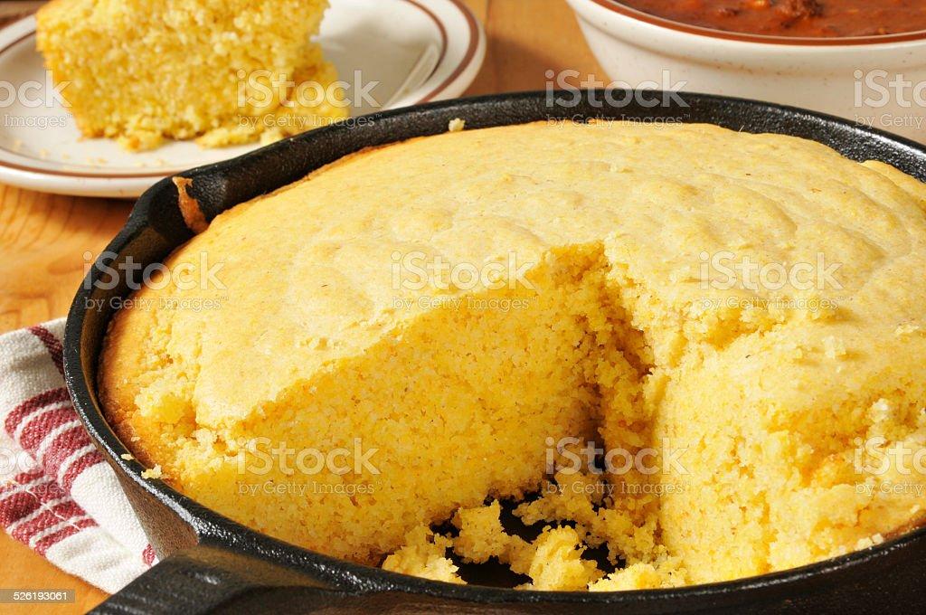 Cornbread and chili stock photo
