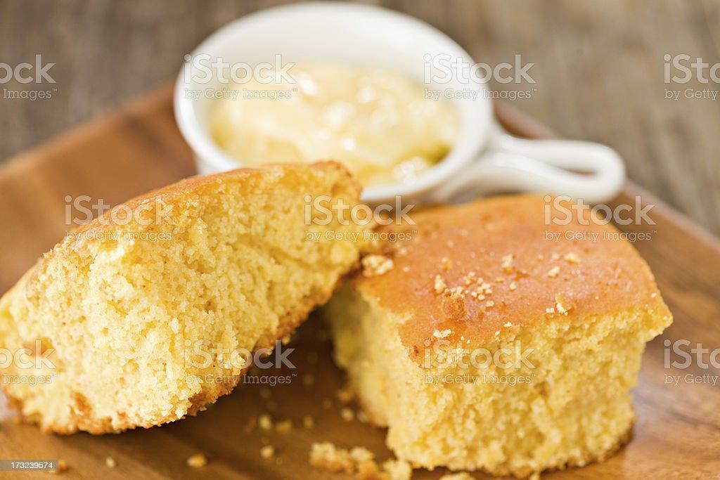 Cornbread And Honey Butter stock photo