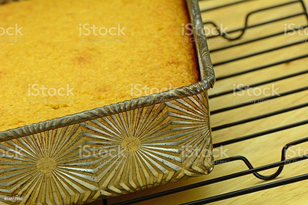 Cornbread in vintage tin stock photo
