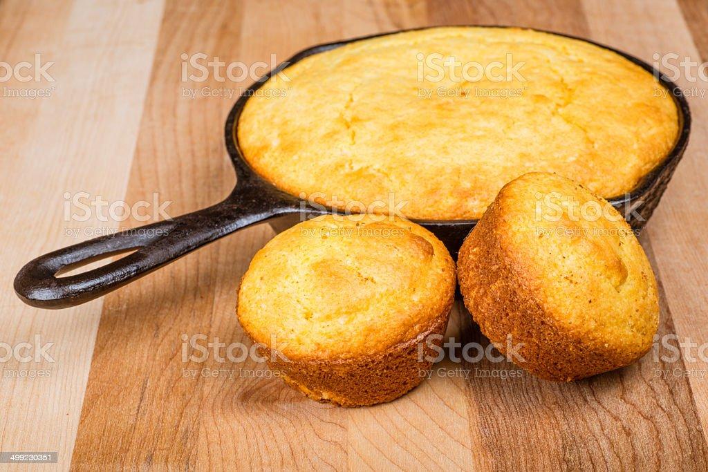 Cornbread muffins and pone stock photo