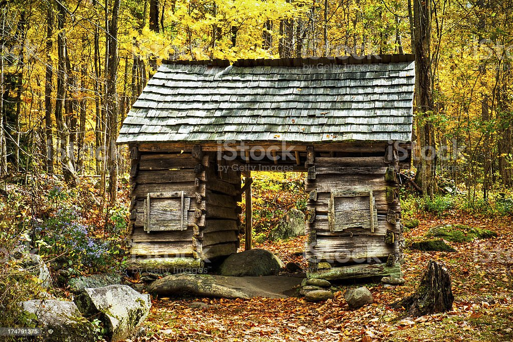 Corncrib, Roaring Fork, Great Smoky Mountains, Gatlinburg, Tennessee, USA royalty-free stock photo