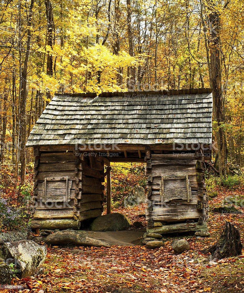 Corncrib, Roaring Fork, Great Smoky Mountains, Gatlinburg, Tennessee, USA royalty-free stock photo