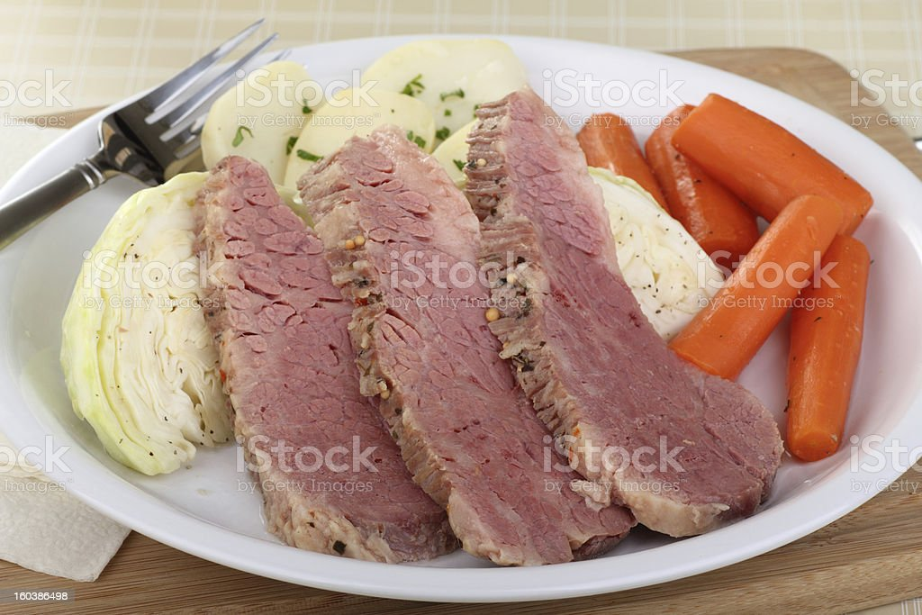 Corned Beef and Cabbage Dinner stock photo