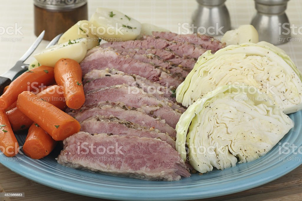 Corned Beef and Cabbage Meal stock photo