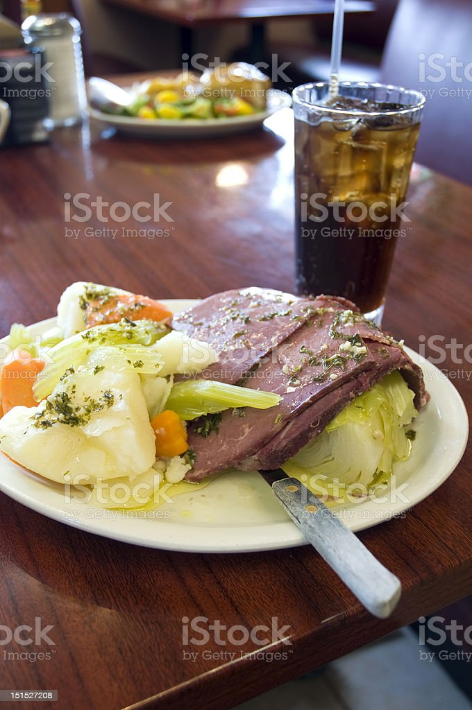 Corned Beef And Cabbage On A Serving Plate stock photo