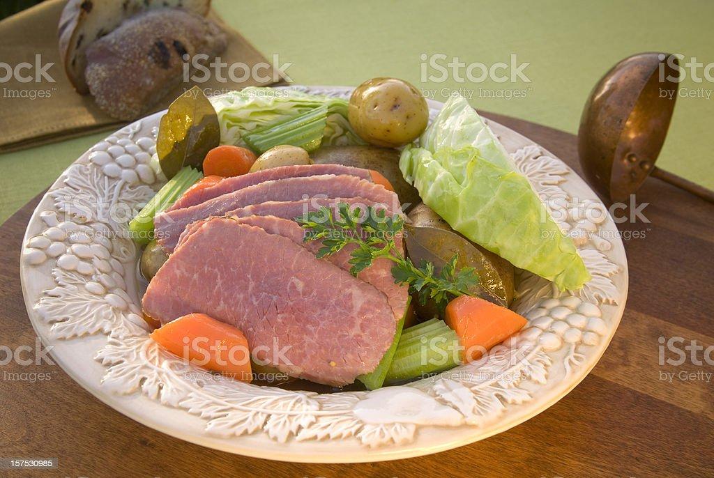 Corned Beef Brisket Dinner & Vegetable St. Patrick's Day Irish Food stock photo
