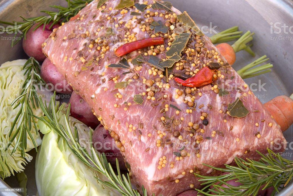 Corned Beef Brisket Roast, Cooking St. Patrick's Day Irish Food royalty-free stock photo