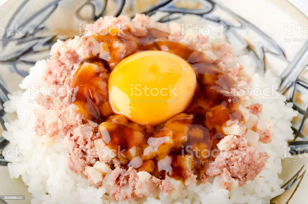 Corned beef hash on top of the rice stock photo