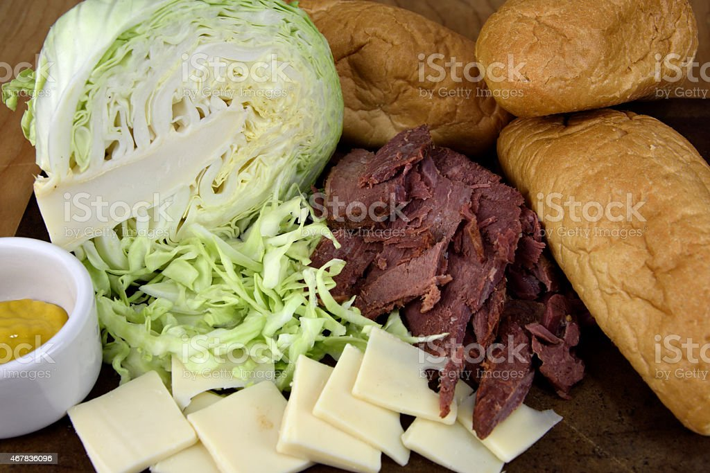 Corned Beef Sandwich Ingredients stock photo