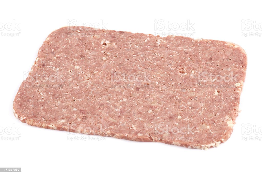 Corned Beef Slice isolated on a white background royalty-free stock photo