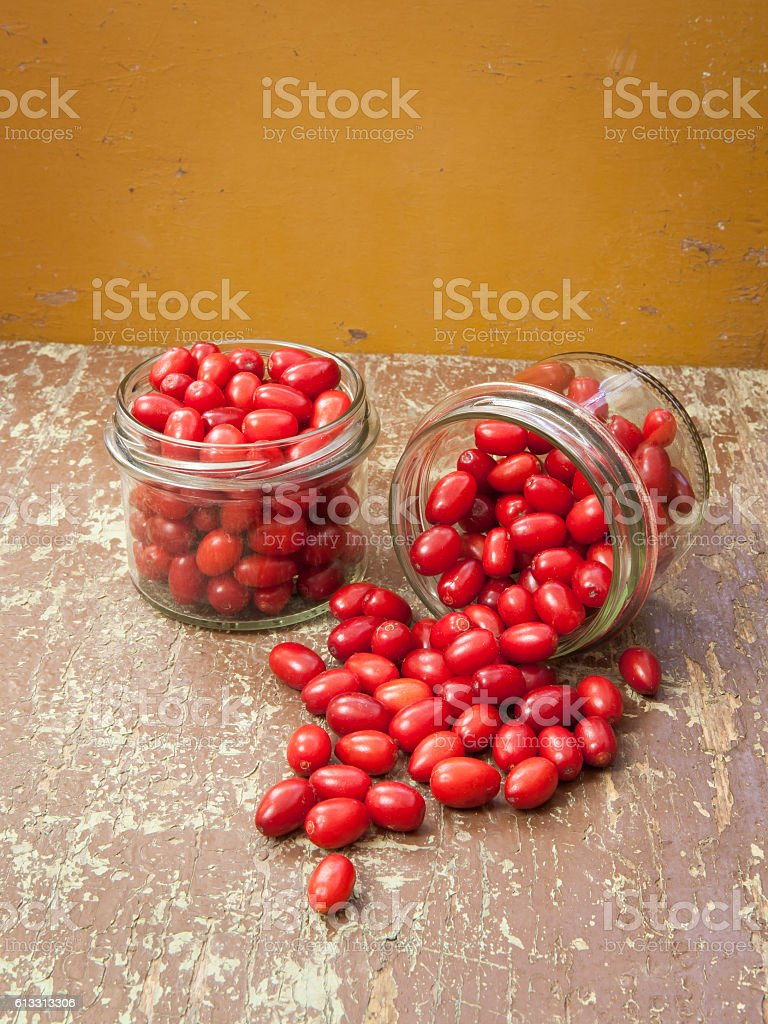 Cornelian cherries compote stock photo
